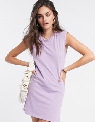 Stradivarius padded shoulder dress in lilac