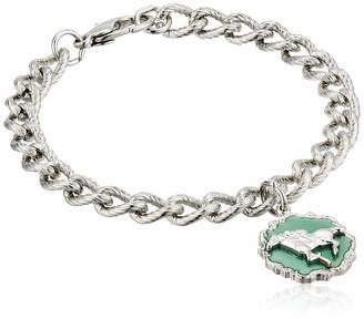 1928 Jewelry Women's Silver-Tone Enamel Turquoise Color Horse Charm Bracelet