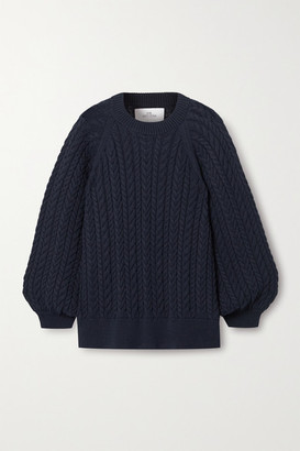 I Love Mr Mittens Cable-knit Cotton Sweater - Navy