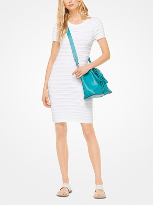 MICHAEL Michael Kors Ruffled Stripe Stretch-Viscose Dress