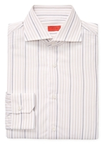 Isaia Graphic Stripes Cotton Dress Shirt