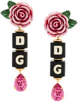 Dolce & Gabbana rose and dice drop clip-on earrings