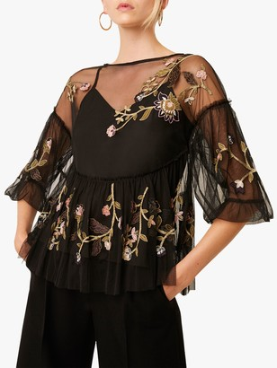 French Connection Etta Mesh Floral Embroidered Blouse, Black