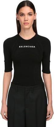 Balenciaga Athletic Stretch Intarsia Top
