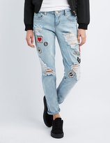 Charlotte Russe Destroyed Patches Boyfriend Jeans