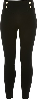 River Island Girls Black button front ponte leggings