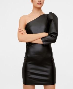 MANGO Faux Leather Asymmetric Dress