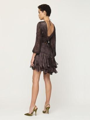 Maria Lucia Hohan Dania Metallic Silk Mini Dress