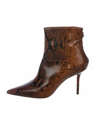 Jimmy Choo Snakeskin Animal Print Boots Brown
