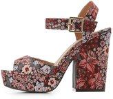 Charlotte Russe Qupid Brocade Platform Two-Piece Sandals