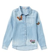 Miss Me Girls Big Girls 7-16 Embroidered Chambray Button-Front Top