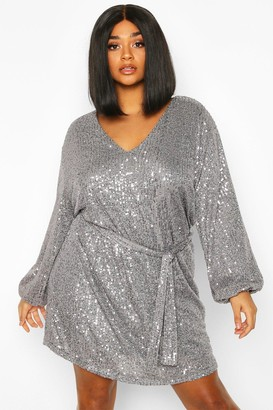 boohoo Plus Sequin Belted Blouson Sleeve Wrap Dress