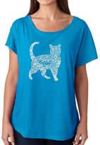 LOS ANGELES POP ART Los Angeles Pop Art Women's Loose Fit Dolman Cut Word Art Shirt - Cat