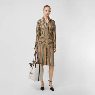 Burberry Box Pleat Detail Icon Stripe A-line Skirt