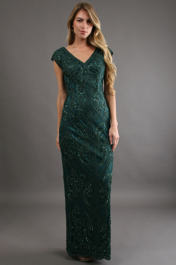 Sue Wong Column Dress with Corded Ribbon Embroidery