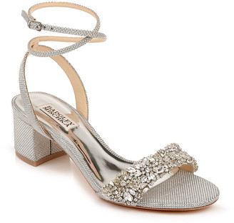Badgley Mischka Jada Low-Heel Glitter Sandals