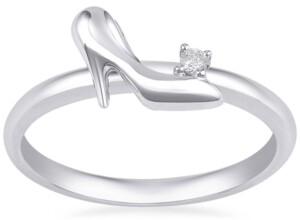 Enchanted Disney Fine Jewelry Diamond Accent Cinderella Slipper Ring in 10k White Gold