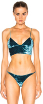 Fleur Du Mal Velvet Long Line Bra Top in Green.