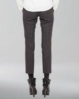 Akris Punto Cropped Stretch Wool Pants, Coal