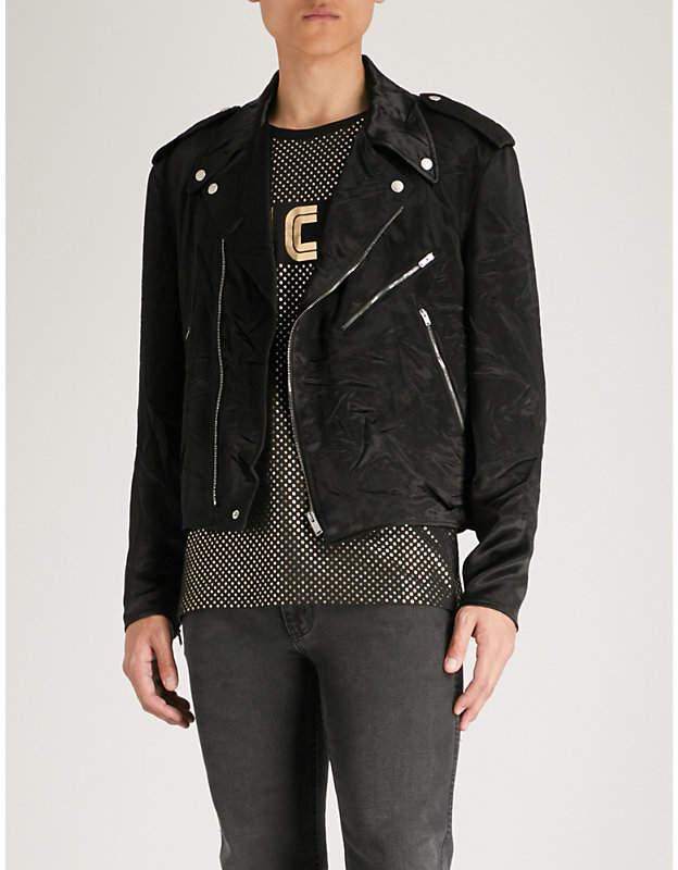 Gucci Floral-embroidered satin biker jacket