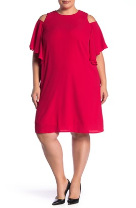 London Times Catalina Crepe Cold Shoulder Ruffle Dress (Plus Size)