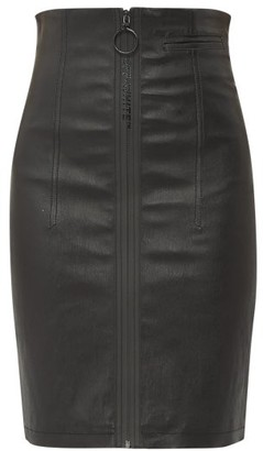 Off-White Zipped Leather Skirt - Black