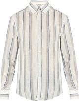 Brunello Cucinelli Slim-fit stripe-print linen shirt