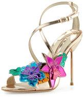 Sophia Webster Hula 3D Floral 105mm Sandal, Rose Gold
