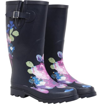 Board Angels Womens Floral Wellington Boots Navy/Multi
