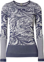 adidas by Stella McCartney Cutout Stretch Jacquard-knit Top - Storm blue