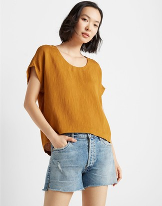 Club Monaco Textured Scoop Neck Top