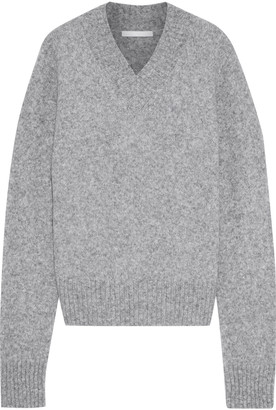 Helmut Lang Cutout Melange Brushed Knitted Sweater