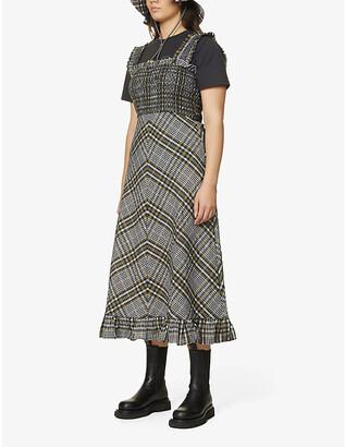 Ganni Seersucker-check cotton-blend midi dress