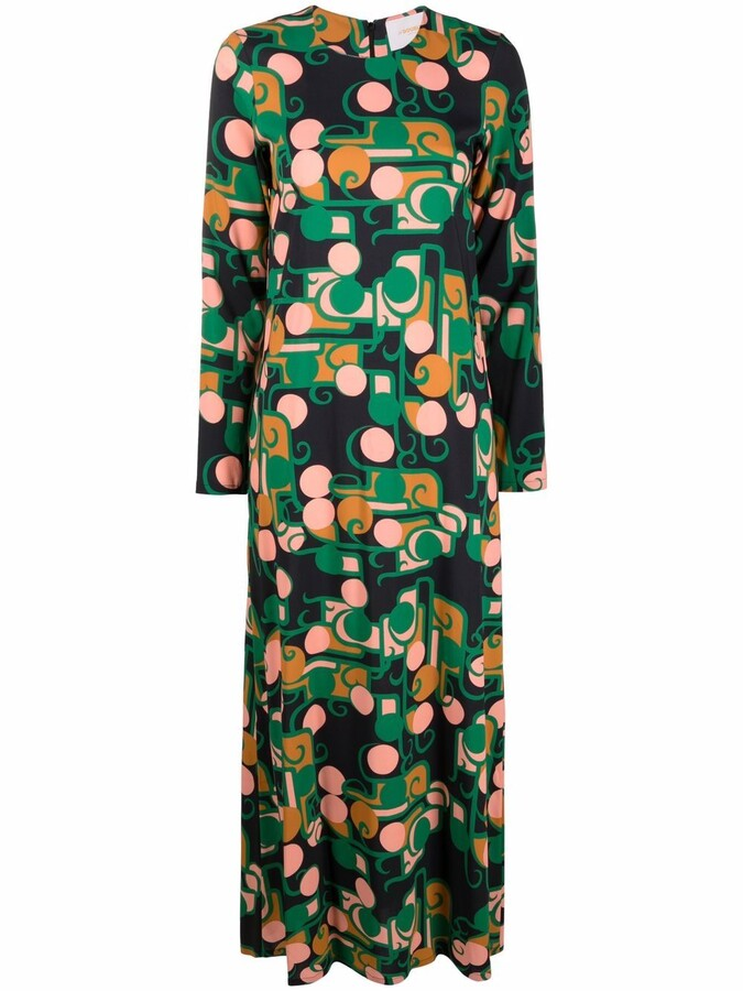 Thumbnail for your product : La DoubleJ Abstract-Print Maxi Swing Dress
