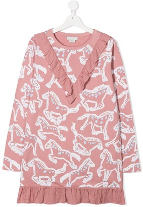 Stella Mccartney Kids TEEN horse-print ruffled dress