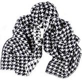 Black and Ivory Houndstooth Knitted Cashmere Scarf