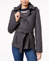 Celebrity Pink Double-Breasted Hooded Peacoat