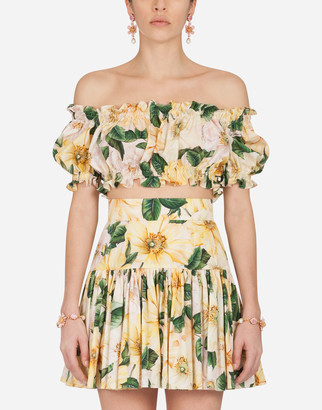 Dolce & Gabbana Camellia-Print Poplin Crop Top