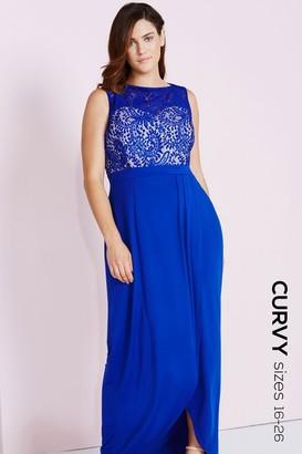 Little Mistress Curvy Cobalt Lace Maxi Dress