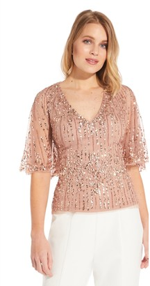 Adrianna Papell Beaded Half Cape Top, Rose Gold