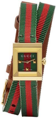 Gucci Gold Square Web Double Wrap G-Frame Watch