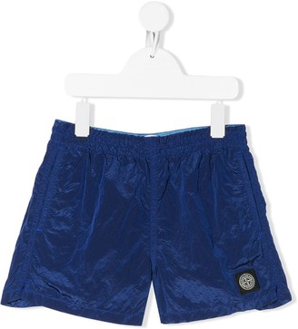 Stone Island Junior Logo-Patch Swim Shorts