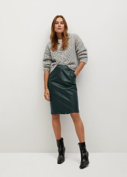 MANGO Faux-leather pencil skirt