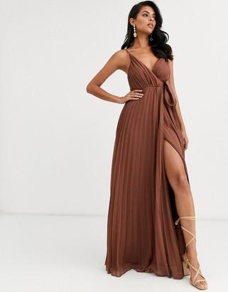 Asos Design DESIGN cami pleated maxi dress with grosgrain tie waist