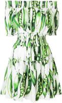 Dolce & Gabbana Pea print off the shoulder dress