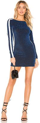 superdown Reina Side Stripe Metallic Bodycon Dress