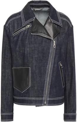 Versace Leather-trimmed Denim Jacket