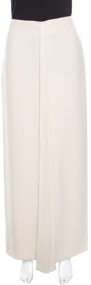 Giorgio Armani Beige Silk Pleated Front Maxi Skirt M