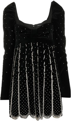Wandering Sweetheart-Neck Embellished Mini Dress