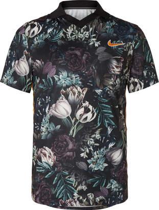 Nike Tennis Nikecourt Slam Striped Floral-Print Dri-Fit Tennis Polo Shirt